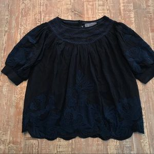 NWOT Anthropologie Black Puff Embroidered Blouse